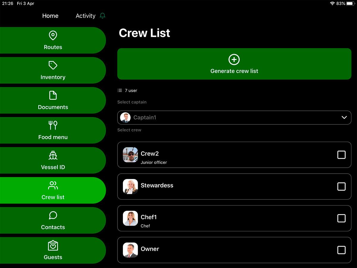 yacht manager app crew list
