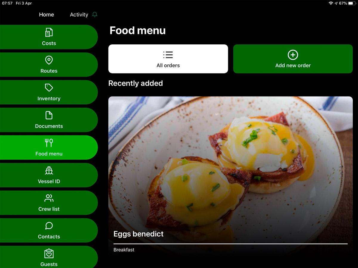 yacht manager food menu